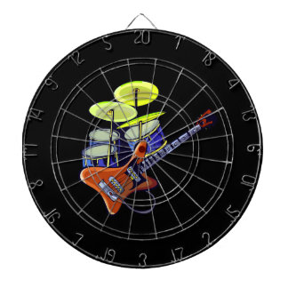 electric guitar drumset orange green.png dartboard