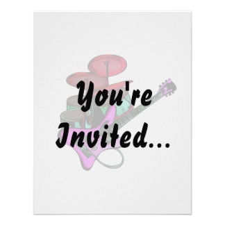 electric guitar drumset red pink.png personalized invitation