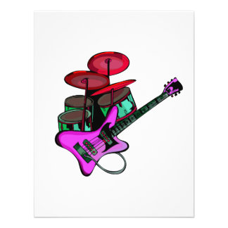 electric guitar drumset red pink.png personalized announcement