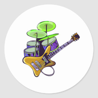 electric guitar drumset yellow.png classic round sticker
