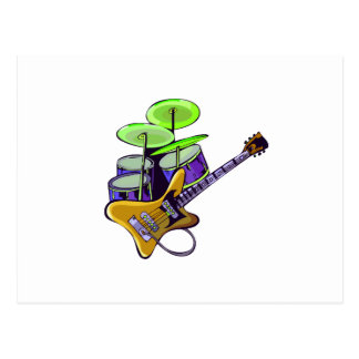electric guitar drumset yellow.png postcard