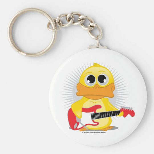 Electric Guitar Duck Keychain