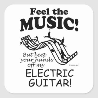 Electric Guitar Feel The Music Square Sticker