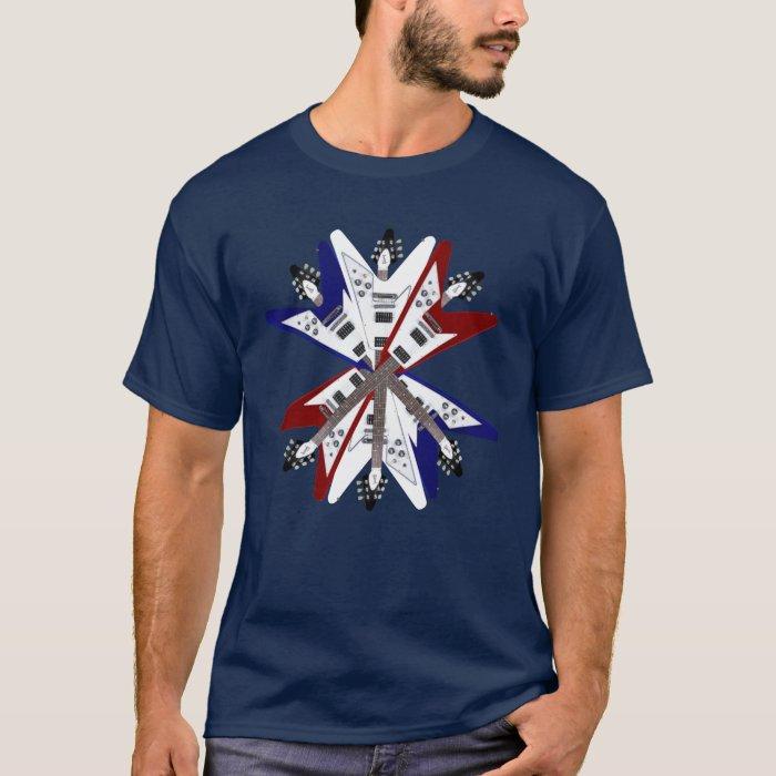 Electric Guitar Flying V Red White & Blue Shirt