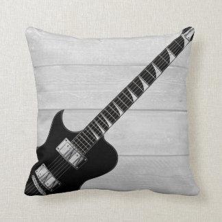 Electric Guitar Grey Wood Pop Art Throw Pillow