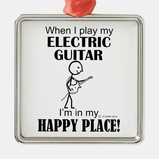 Electric Guitar Happy Place Christmas Ornament