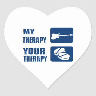 ELECTRIC GUITAR is my therapy Heart Stickers