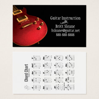 Electric Guitar Lessons Template, Free Chord Chart Business Card