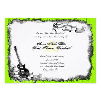 "Electric Guitar Lime Music Wedding Invitation 5"" X 7"" Invitation Card"