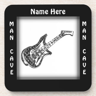 Electric Guitar Man Cave Custom Drink Coaster