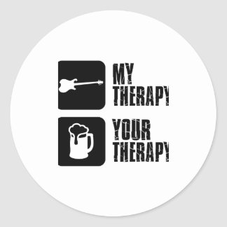 electric-guitar  my therapy classic round sticker