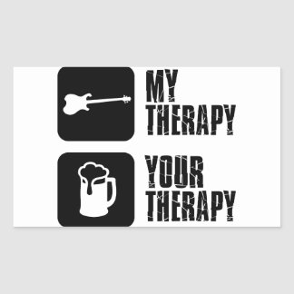 electric-guitar  my therapy rectangular sticker