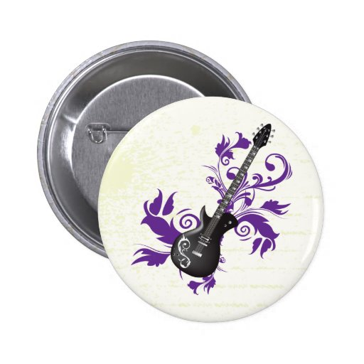 Electric guitar on purple leaves custom products pinback buttons