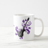 Electric guitar on purple leaves custom products coffee mugs