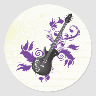 Electric guitar on purple leaves custom products classic round sticker