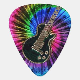 Electric Guitar on Rainbow Tie-Dye Guitar Pick