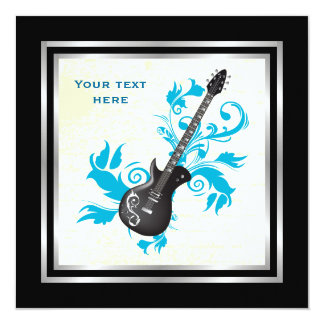 Electric guitar on turquoise leaves custom product card