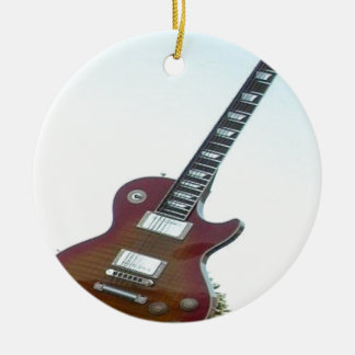 Electric Guitar Double-Sided Ceramic Round Christmas Ornament