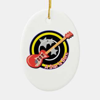 Electric Guitar Double-Sided Oval Ceramic Christmas Ornament