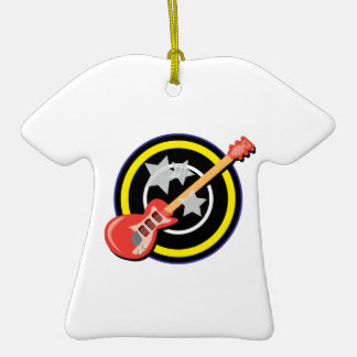 Electric Guitar Double-Sided T-Shirt Ceramic Christmas Ornament