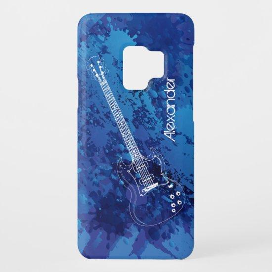 Electric Guitar Outline Blue Paint Splats Case-Mate Samsung Galaxy S9 Case