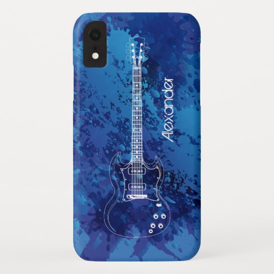 Electric Guitar Outline Blue Paint Splats iPhone XR Case