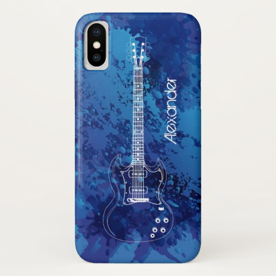 Electric Guitar Outline Blue Paint Splats iPhone XS Case