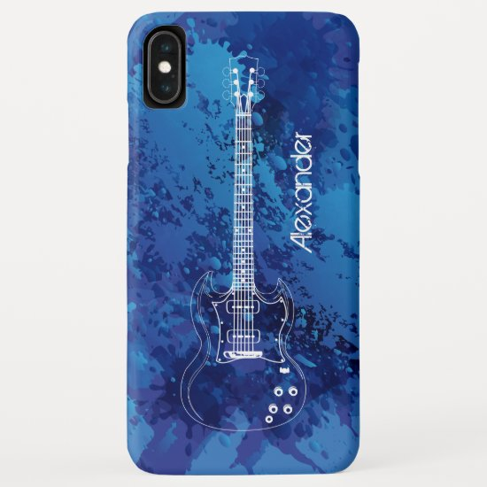 Electric Guitar Outline Blue Paint Splats iPhone XS Max Case