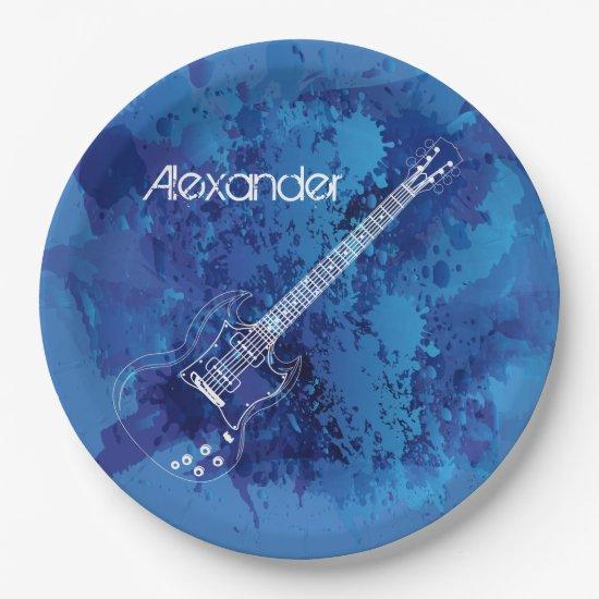 Electric Guitar Outline Blue Paint Splats Paper Plate
