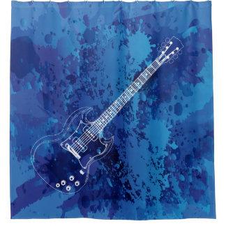 Electric Guitar Outline Blue Paint Splats Shower Curtain