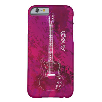 Electric Guitar Outline Pink Paint Splats Barely There iPhone 6 Case