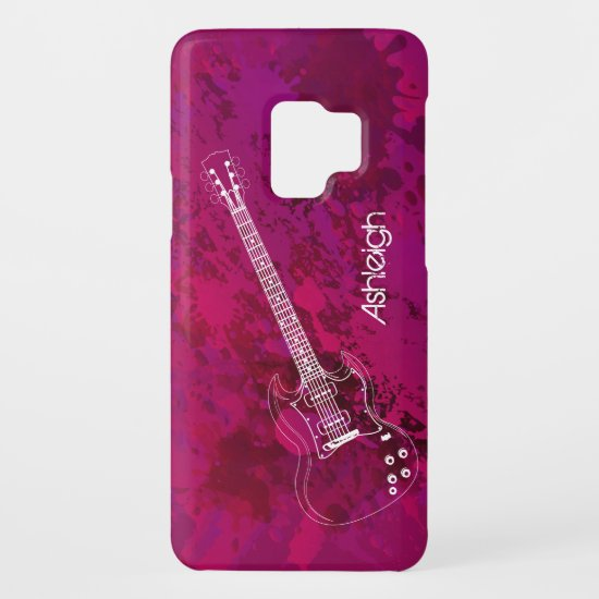 Electric Guitar Outline Pink Paint Splats Case-Mate Samsung Galaxy S9 Case