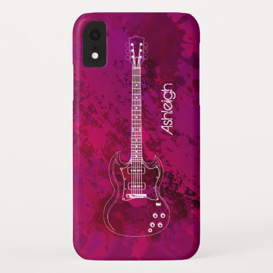 Electric Guitar Outline Pink Paint Splats iPhone XR Case