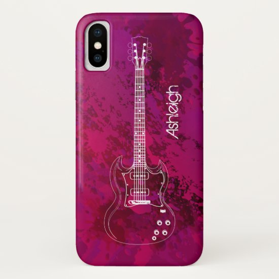 Electric Guitar Outline Pink Paint Splats iPhone XS Case