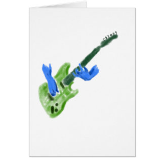 Electric guitar painting, green guitar blue hands card