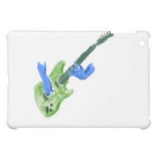 Electric guitar painting, green guitar blue hands cover for the iPad mini