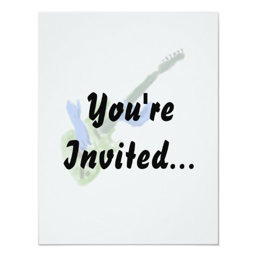 Electric guitar painting, green guitar blue hands 4.25x5.5 paper invitation card