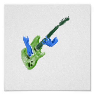 Electric guitar painting, green guitar blue hands poster