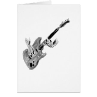 Electric guitar painting with hands, black & white card