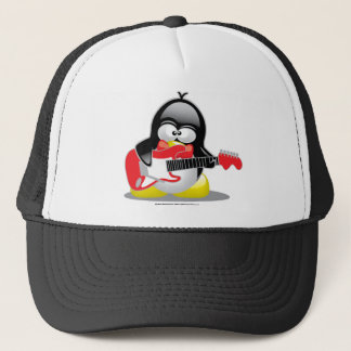Electric Guitar Penguin Trucker Hat