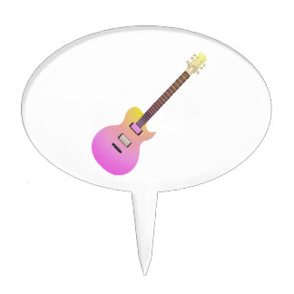electric guitar pink yellow gradient.png cake topper