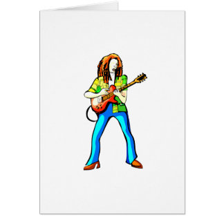 Electric Guitar Player Graphic Image Blue Pants Card