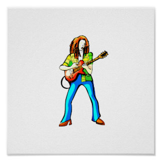 Electric Guitar Player Graphic Image Blue Pants Posters