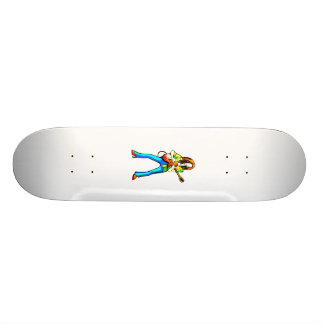 Electric Guitar Player Graphic Image Blue Pants Skateboard Deck