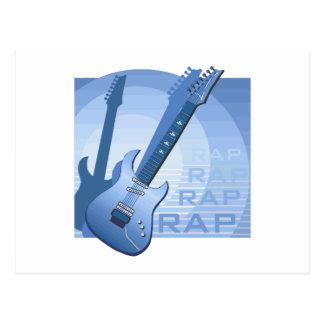 electric guitar rap word music bluue png post card