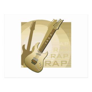 electric guitar rap word music bronze png post card