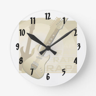 electric guitar rap word music bronze.png round clock