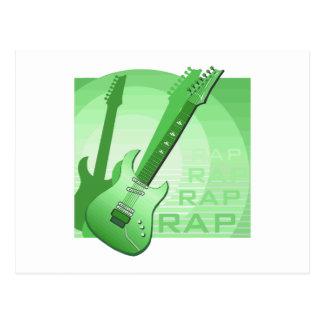electric guitar rap word music green png postcard