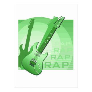 electric guitar rap word music green png post card