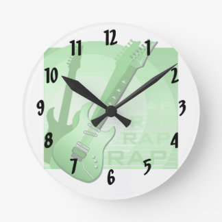 electric guitar rap word music green.png round clock